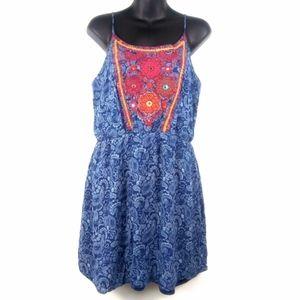 Blue Rain Spaghetti Strap A-Line Paisley Dress 6